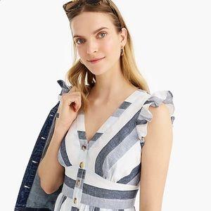 J. Crew Midi Dress in Faded Indigo Stripe, Size 10